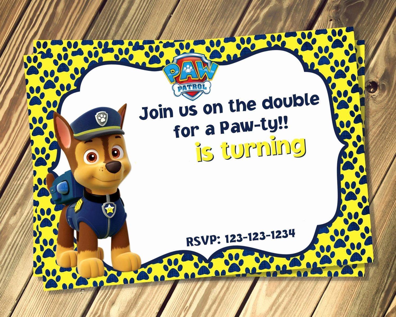 Free Chase Paw Patrol Birthday Invites Template