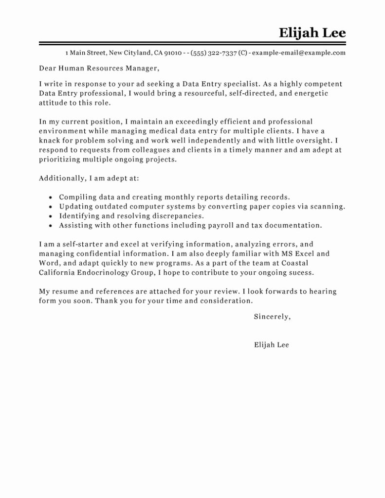 Free Chemist Cover Letter Template