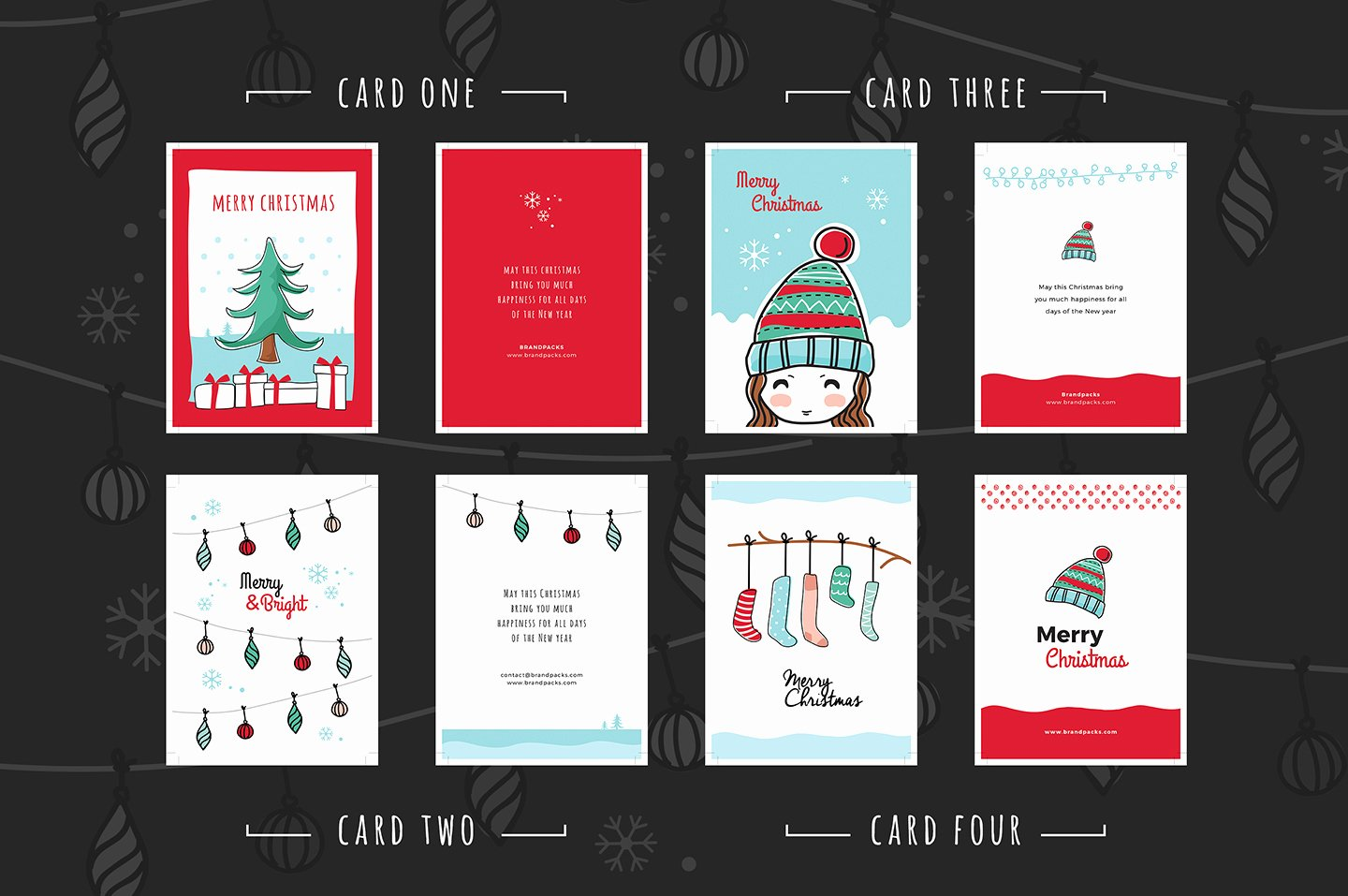 Free Christmas Card Templates for Shop & Illustrator