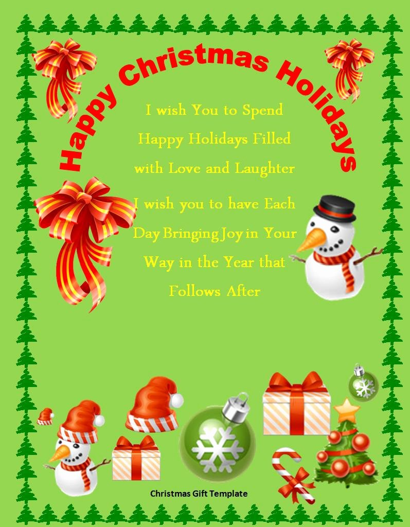 Free Christmas Gift Template