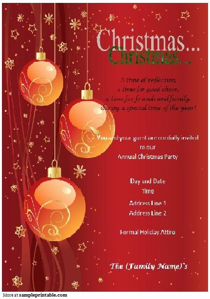 Free Christmas Invitation Templates Word Invitation Template