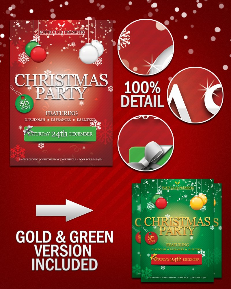 Free Christmas Party Flyer Psd by Kronendesign On Deviantart
