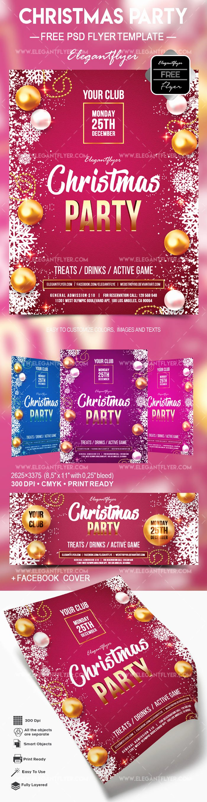 free christmas party flyer psd template cover