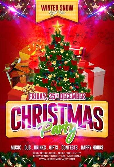 Free Christmas Party Flyer Template Download for Shop