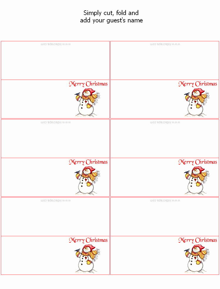 Free Christmas Place Card Templates
