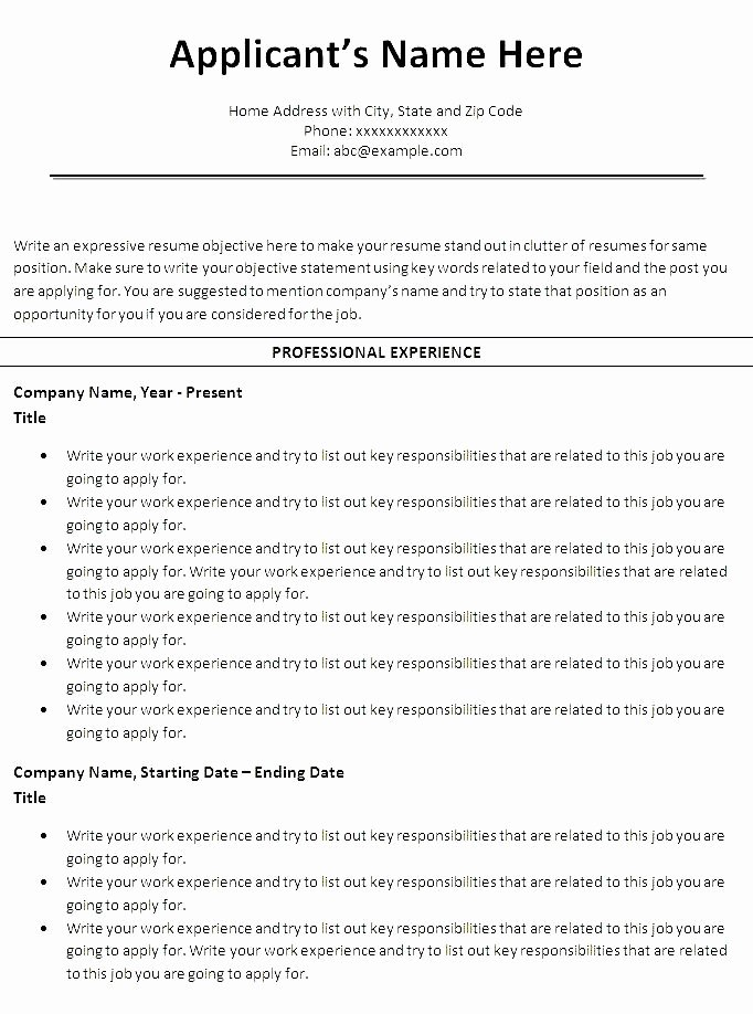 Free Chronological Resume Template Microsoft Word Free