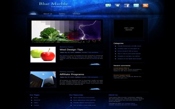 Free Clean Blue Business Css Website Template