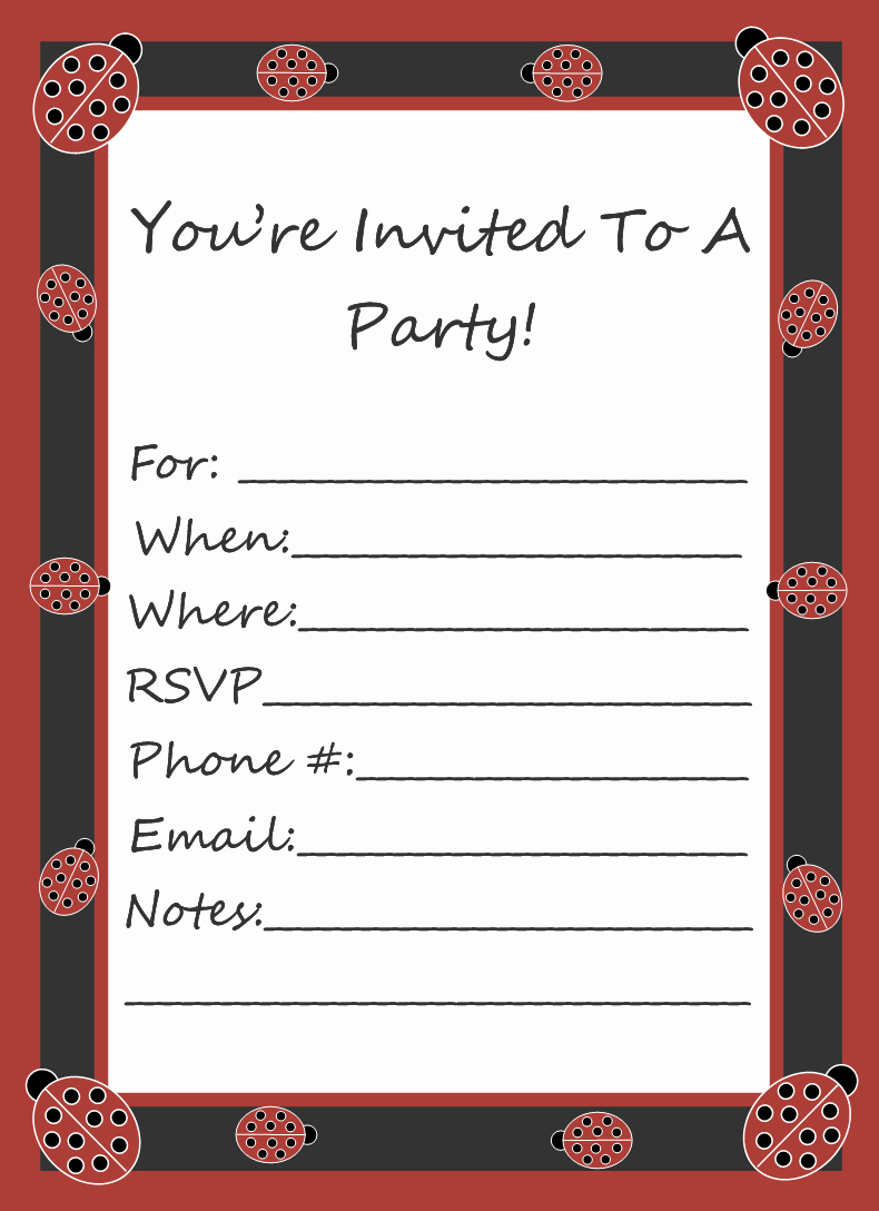 Free Clipart N Free Ladybug Party Invitation Template