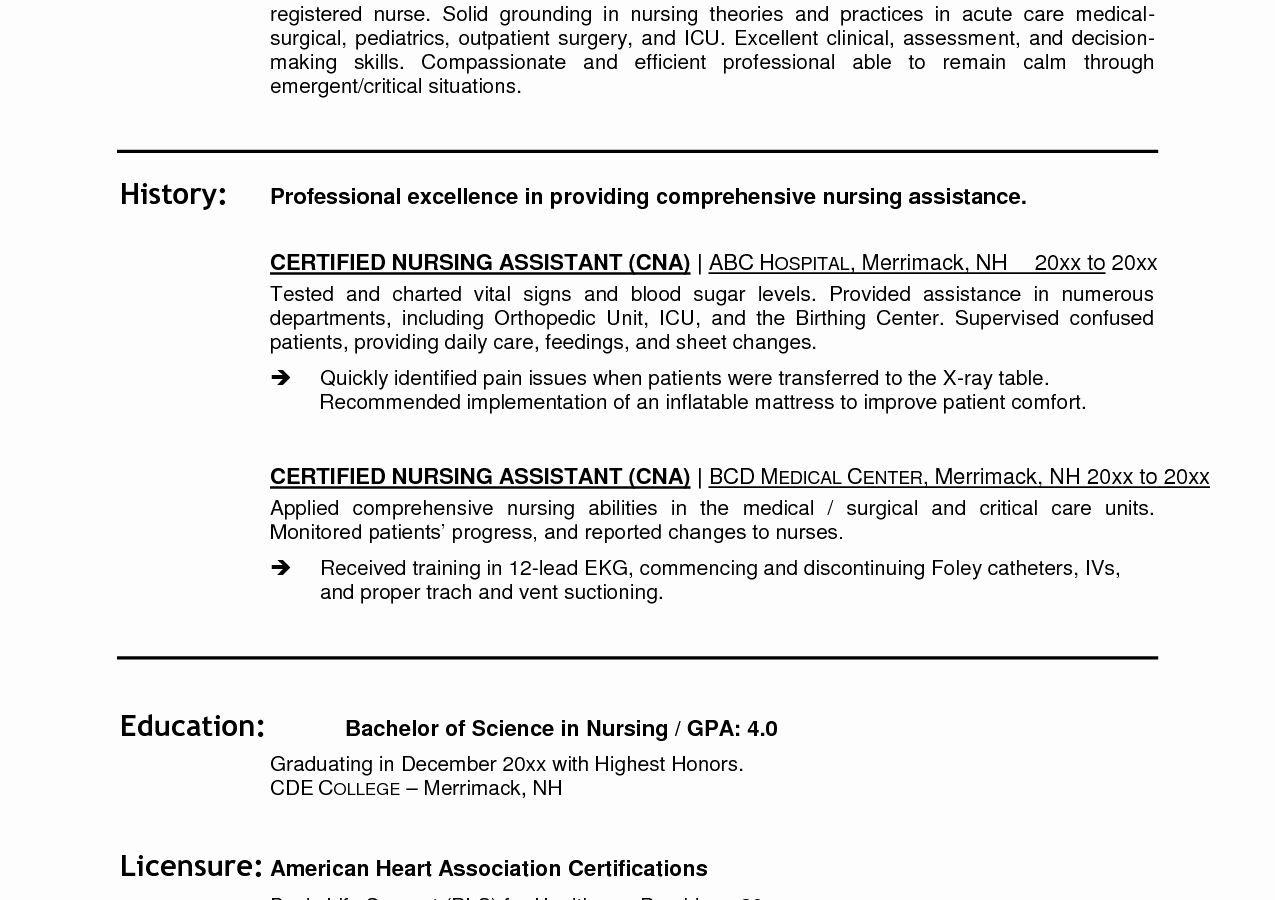 Free Cna Resume Samples Templates Template No Experience