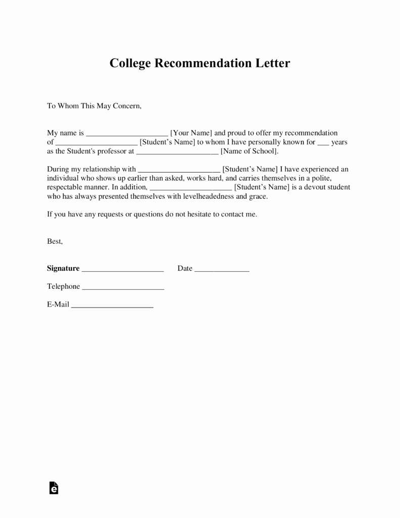 Free College Re Mendation Letter Template with Samples