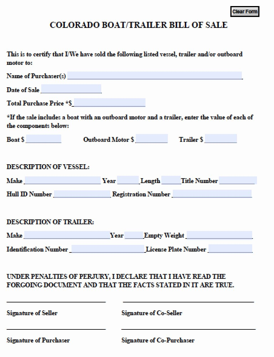 Free Colorado Boat Trailer Bill Of Sale form Pdf