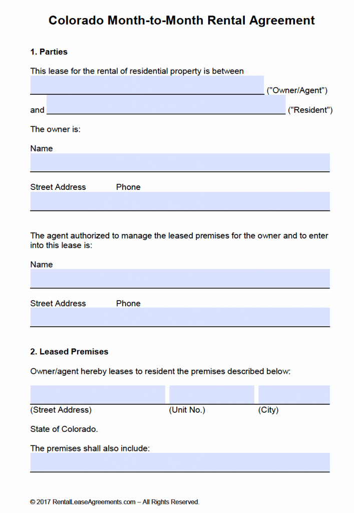Free Colorado Month to Month Lease Agreement Template