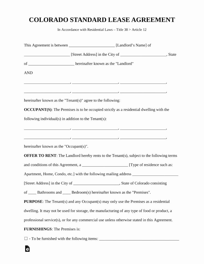 Free Colorado Standard Residential Lease Agreement