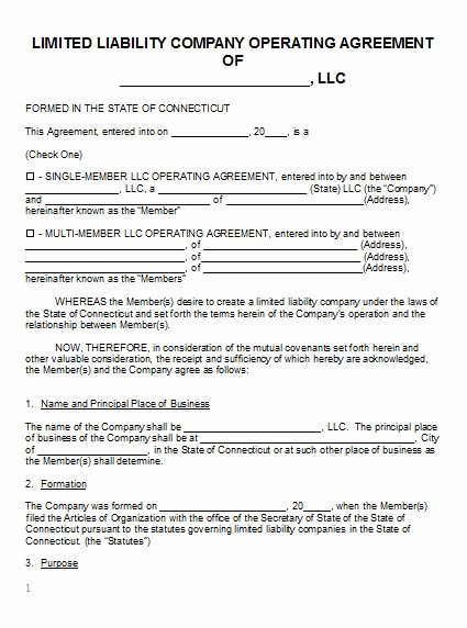 Free Connecticut Llc Operating Agreement Template