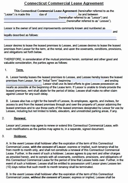 Free Connecticut Mercial Lease Agreement Template – Pdf