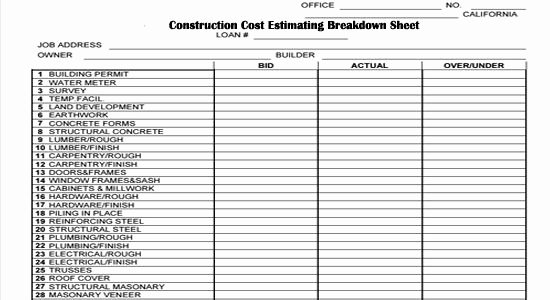 Free Construction Cost Excel Spreadsheet Model