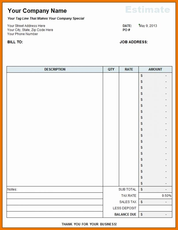 Free Construction Estimate Template Excel