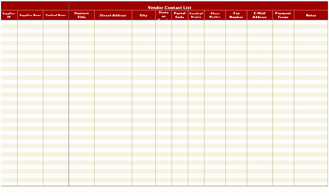 Free Contact List Template Excel Xls – Excel Xls Templates