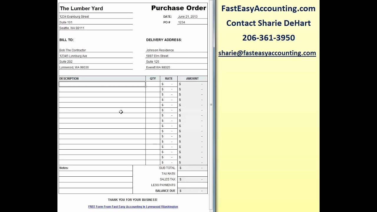 Free Contractor Purchase order Template Excel Download