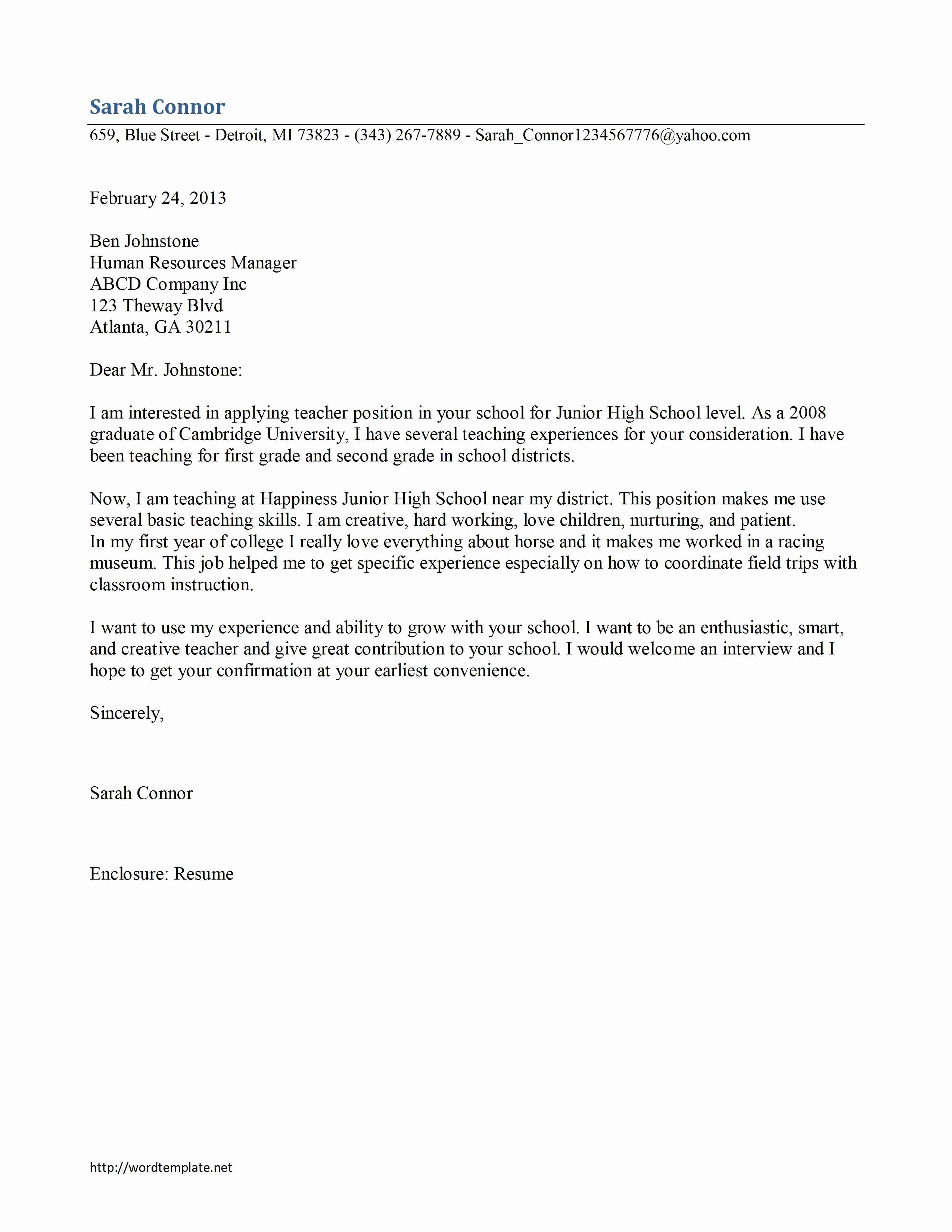 Free Cover Letter Examples for Teachers