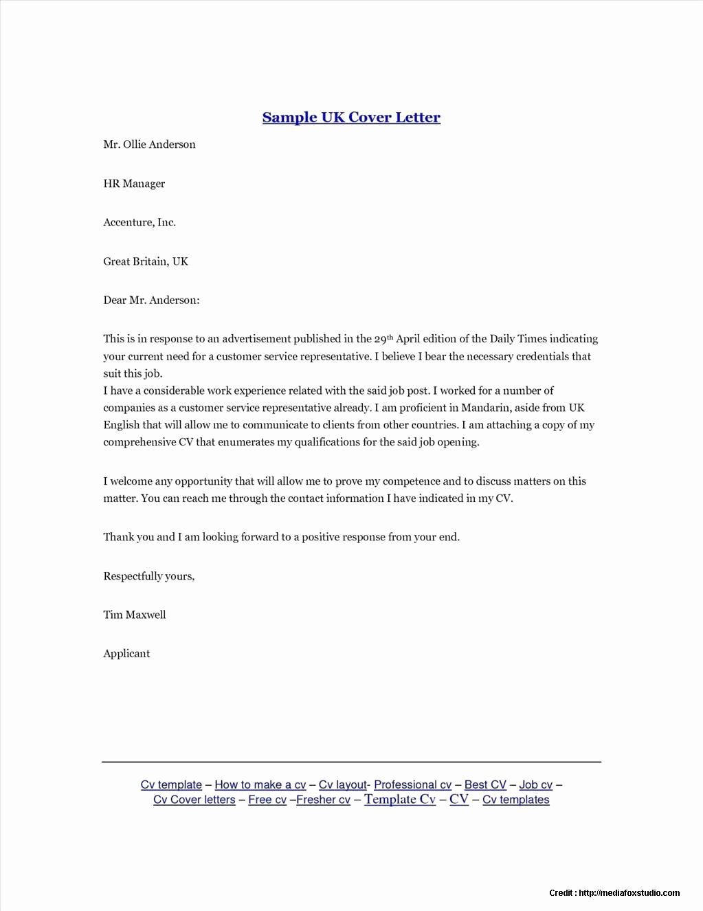 Free Cover Letter Template Uk Cover Letter Resume