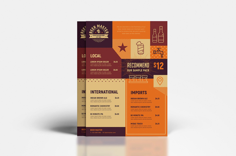 Free Craft Beer Menu Template In Psd Ai & Vector Brandpacks