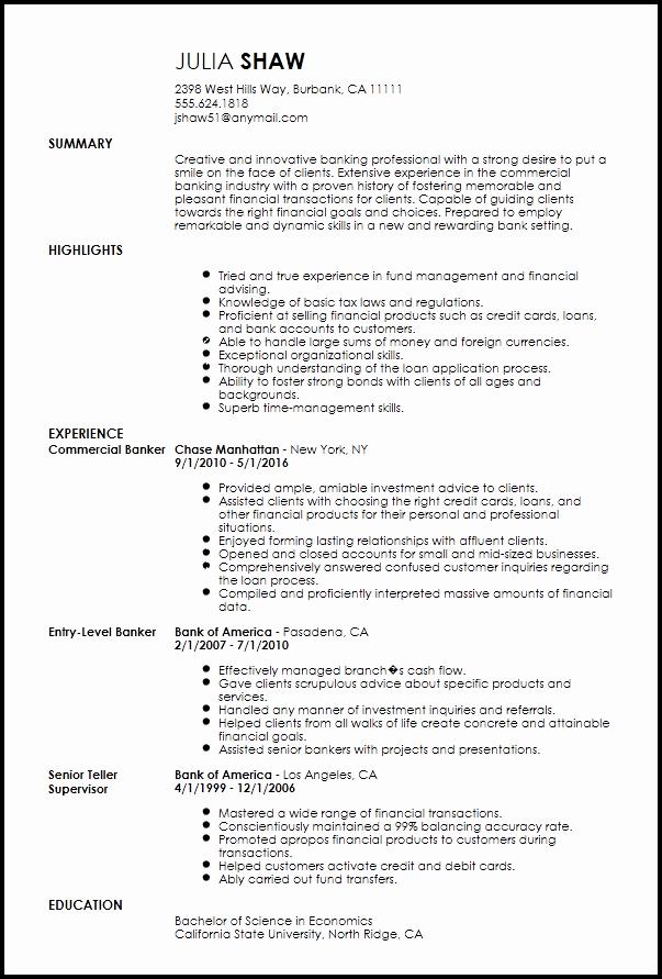 Free Creative Banking Resume Template