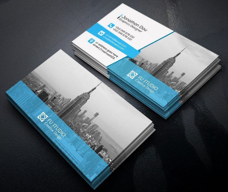 Free Creative Blue & orange Business Card Templates Psd