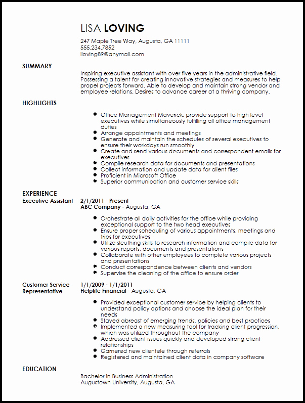 Free Creative Executive assistant Resume Template