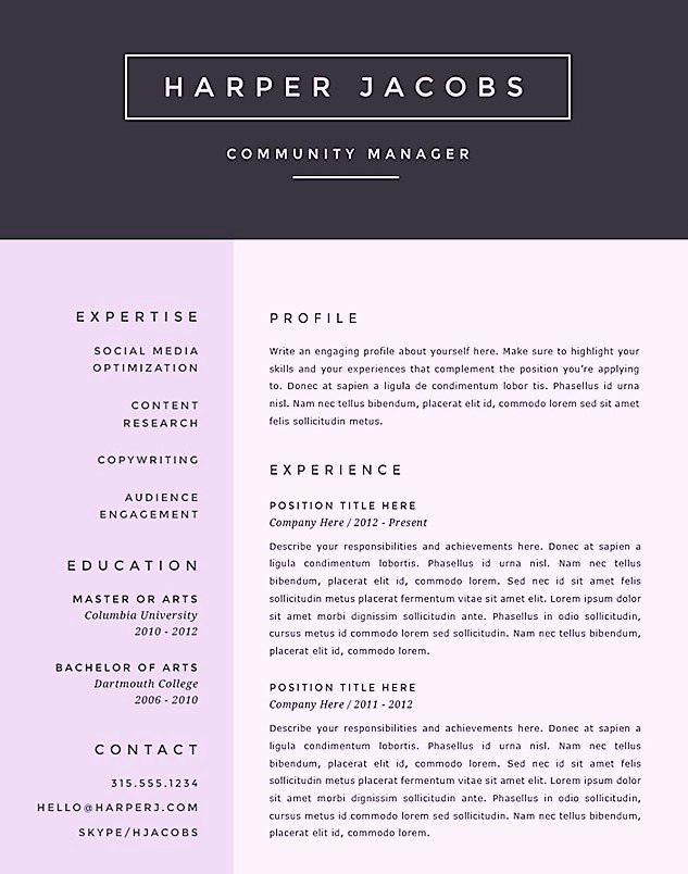 Free Creative Microsoft Word Resume Templates