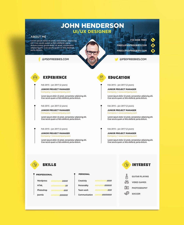 Free Creative Resume Cv Design Template for Ui Ux