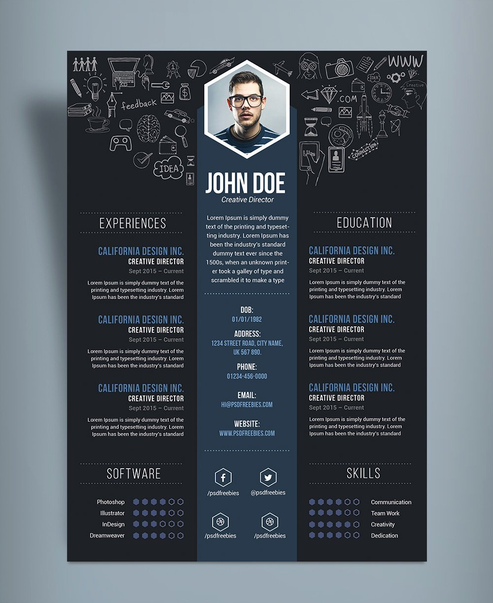 Free Creative Resume Cv Design Template Psd File Good