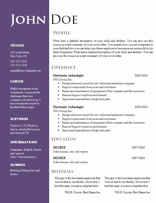 Free Creative Resume Cv Template 547 to 553 – Free Cv
