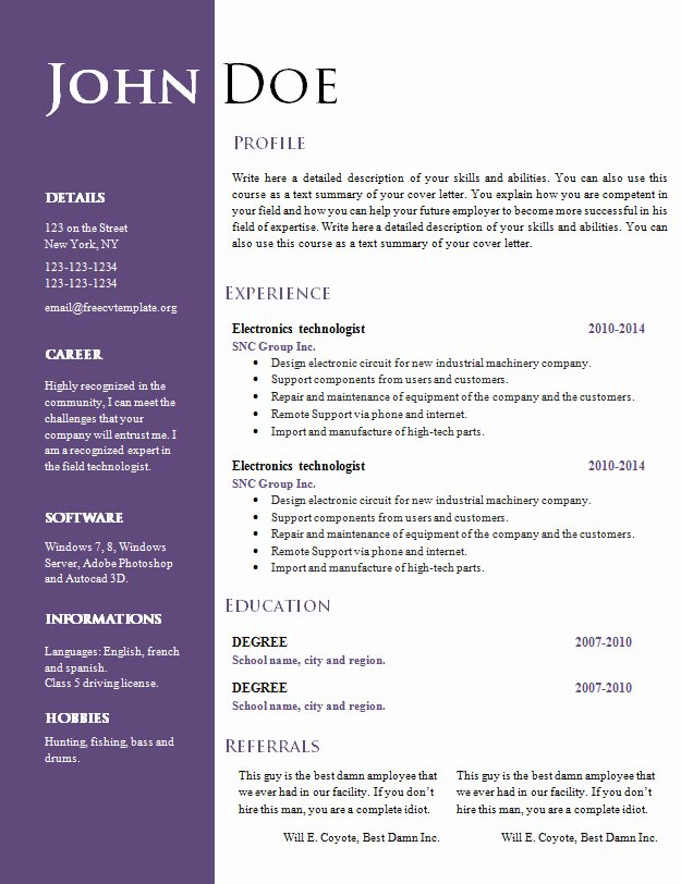 Free Creative Resume Cv Template 547 to 553 – Free Cv