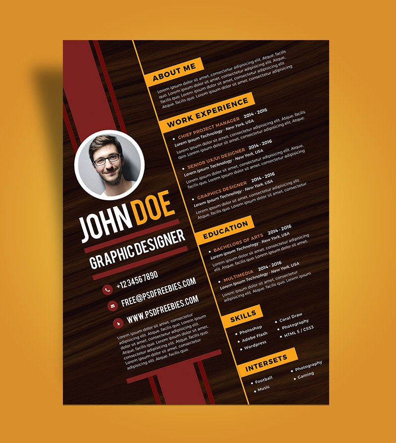 Free Creative Resume Design Template for Graphic Designer