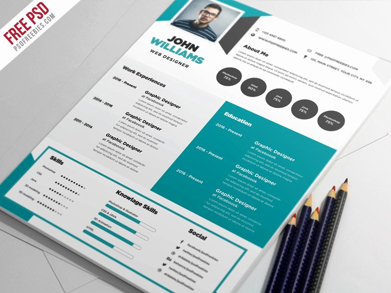 Free Creative Resume Template Psd Free Psd