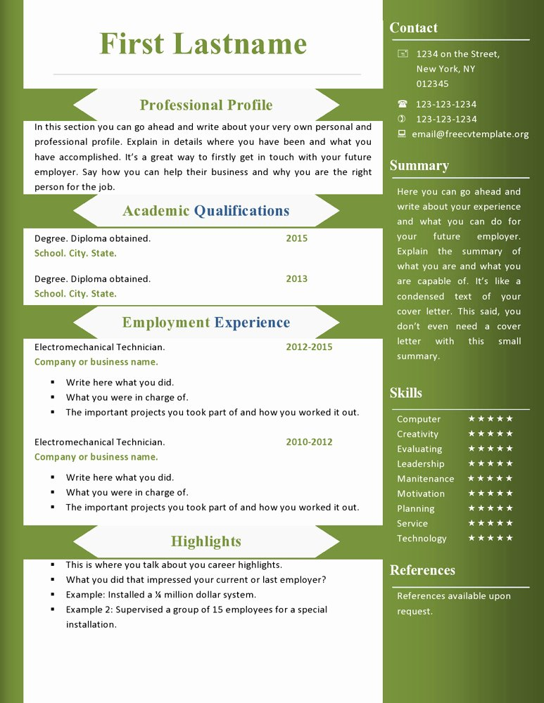 Free Cv Resume Templates 360 to 366 – Free Cv Template