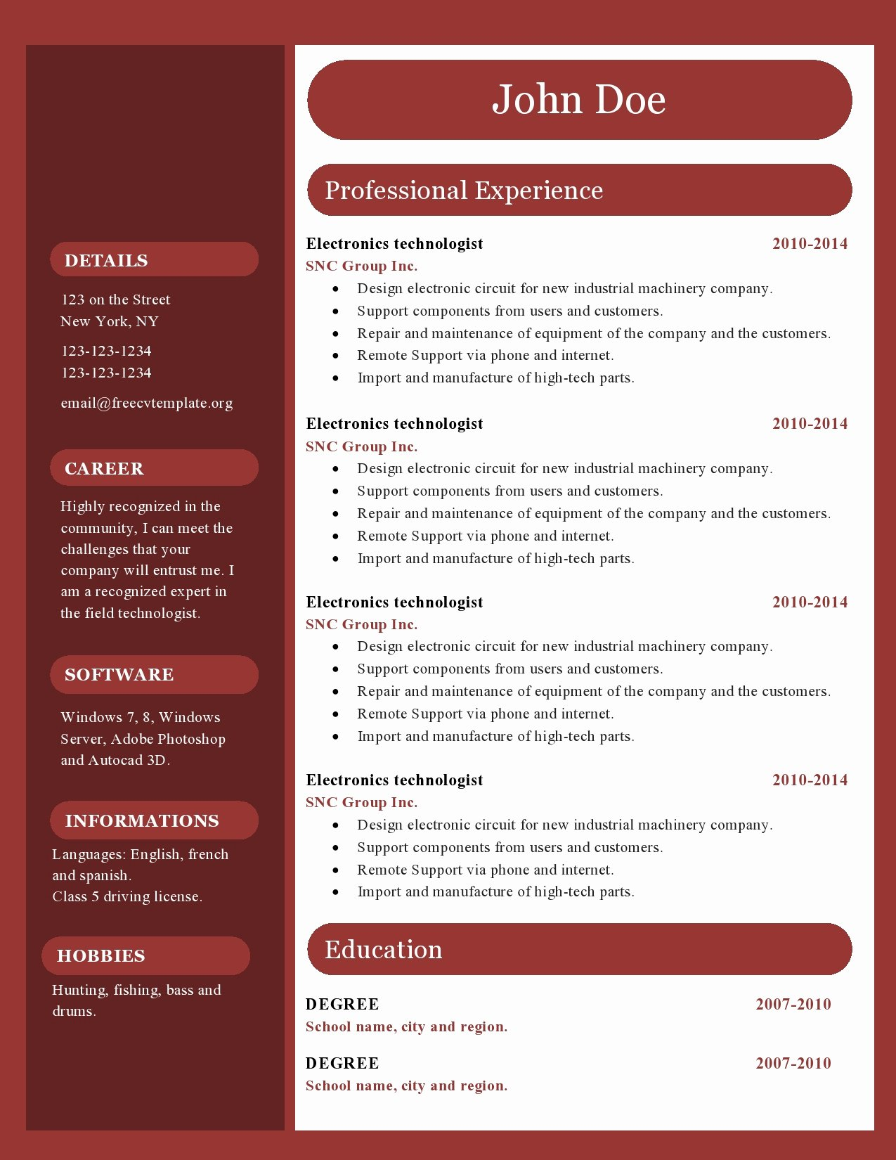 Free Cv Resume Templates 417 to 422 – Free Cv Template