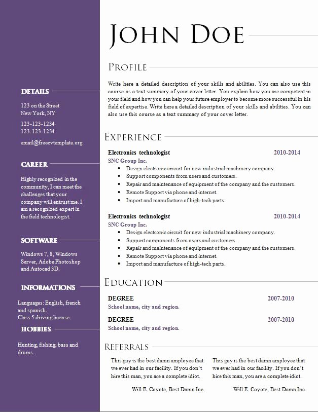 Free Cv Resume Templates 495 to 501 – Free Cv Template