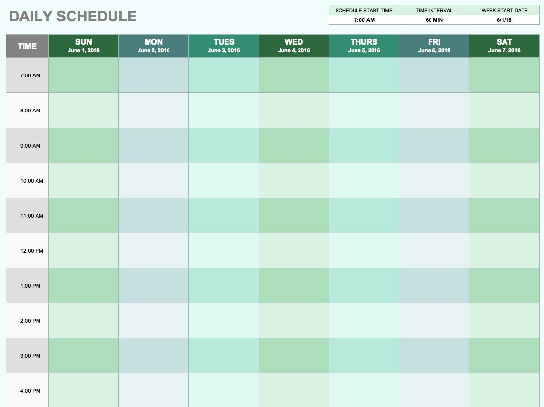 free daily schedule templates