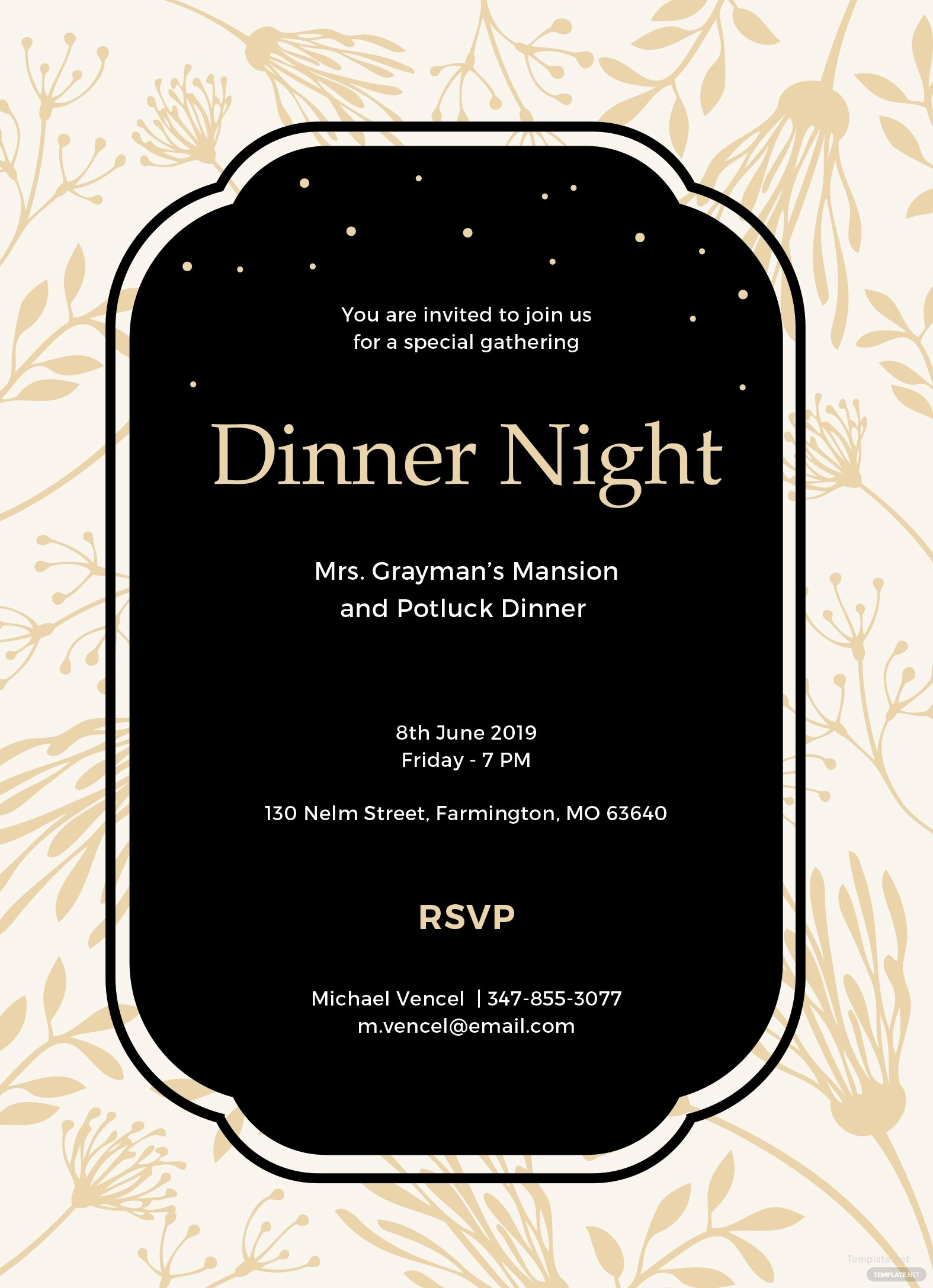 Free Dinner Invitation Template In Ms Word Publisher