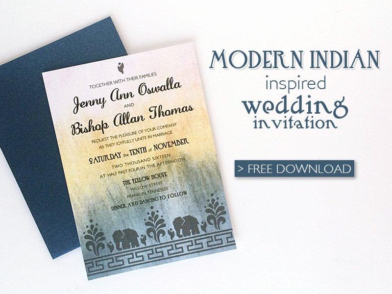 Free Diy Modern Indian Wedding Invitation Download & Print