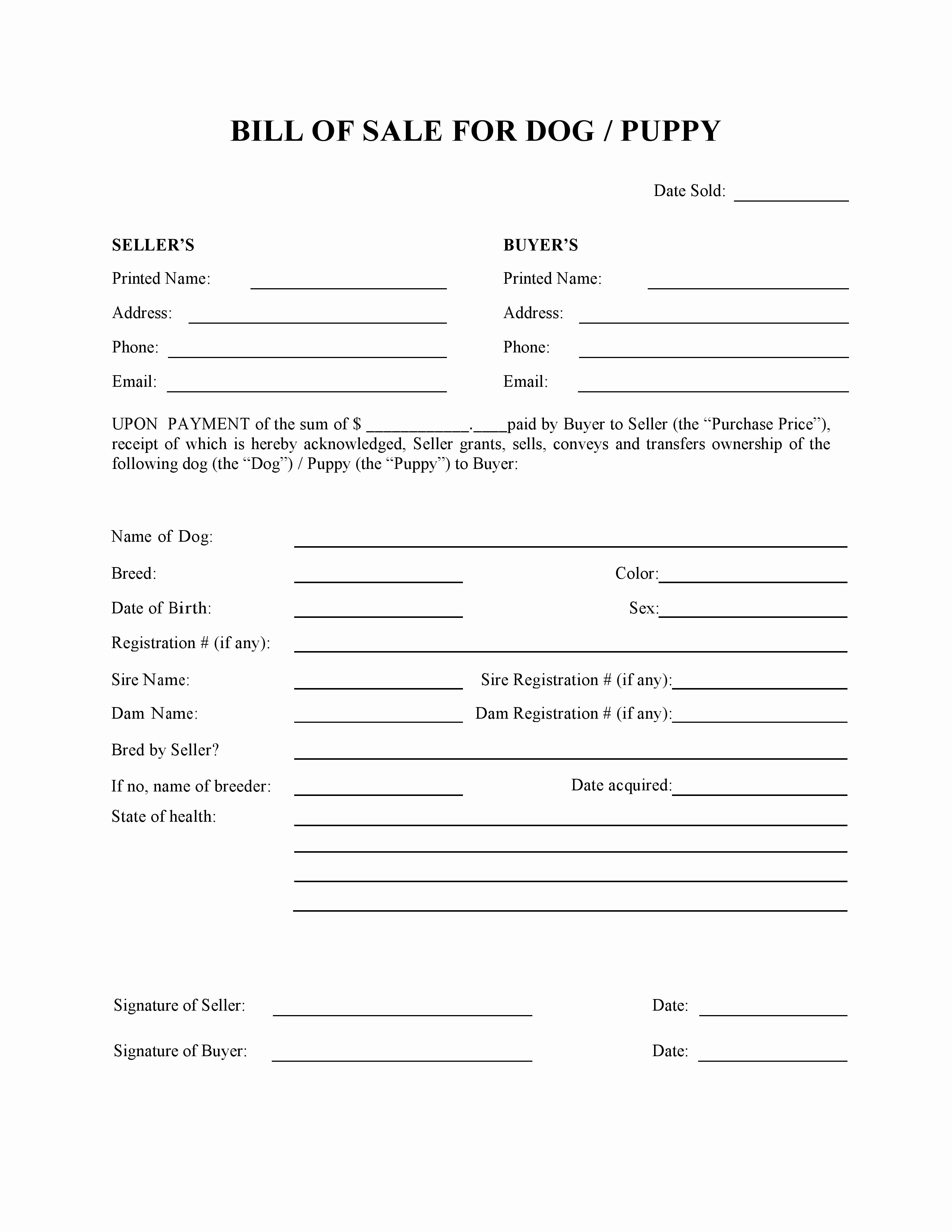 Free Dog or Puppy Bill Of Sale form Pdf Word