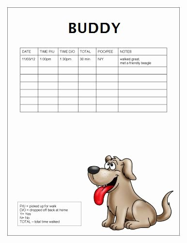 Free Dog Walking Log Template Samples Printable Ready to