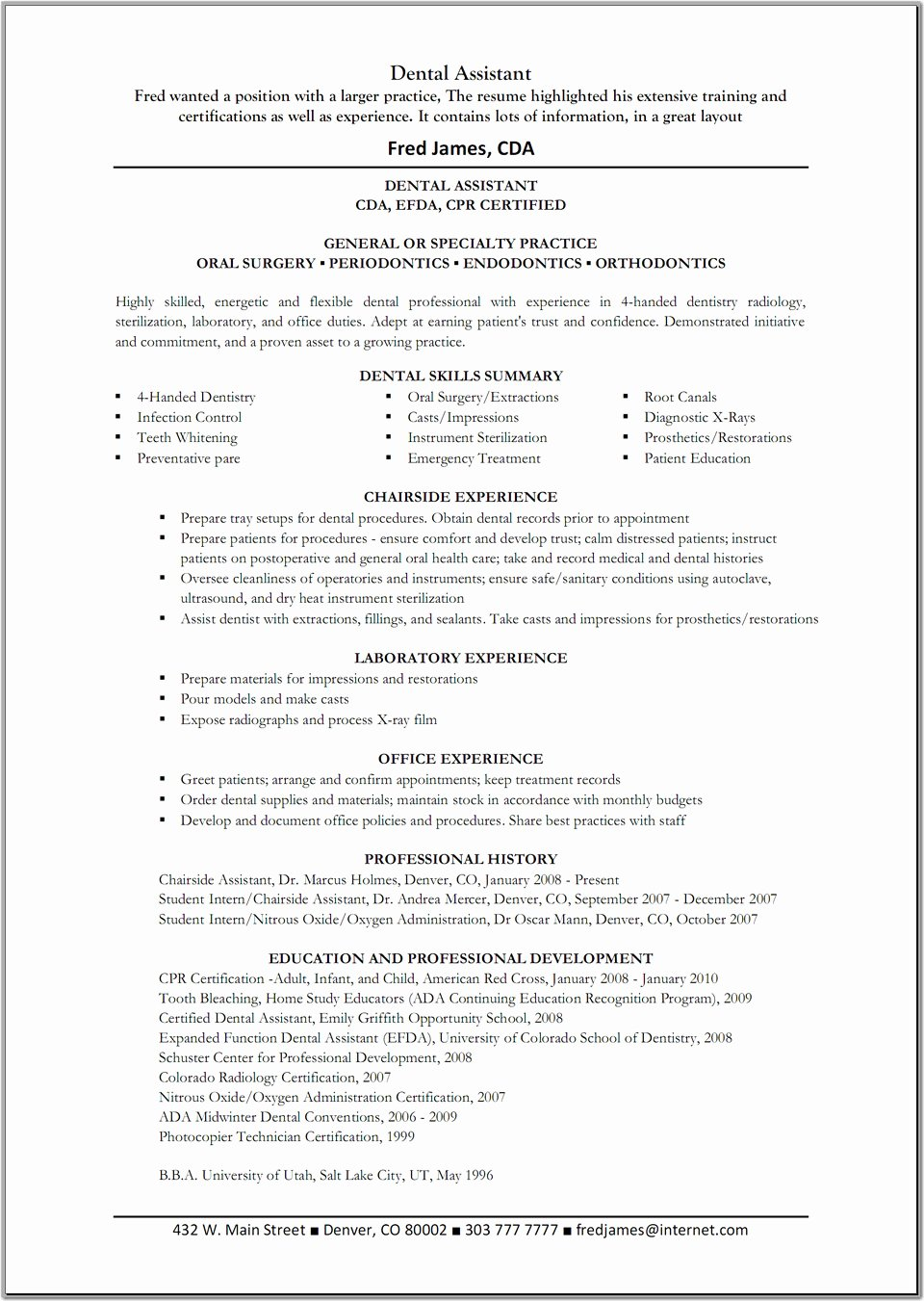 Free Download Dental assistant Resume Template Dental