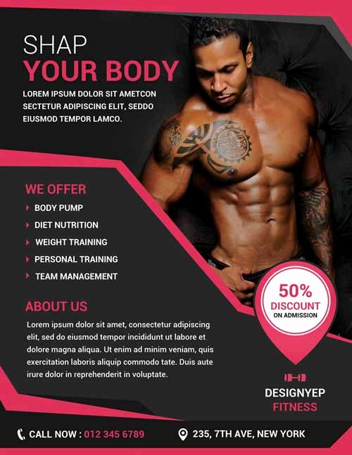Free Download Fitness and Gym Psd Shop Flyer Template