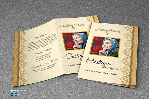 Free Download Memorial Service Program Template Indesign