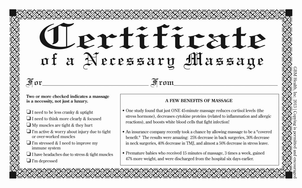 Free Download Of Necessary Massage Certificate Golfball