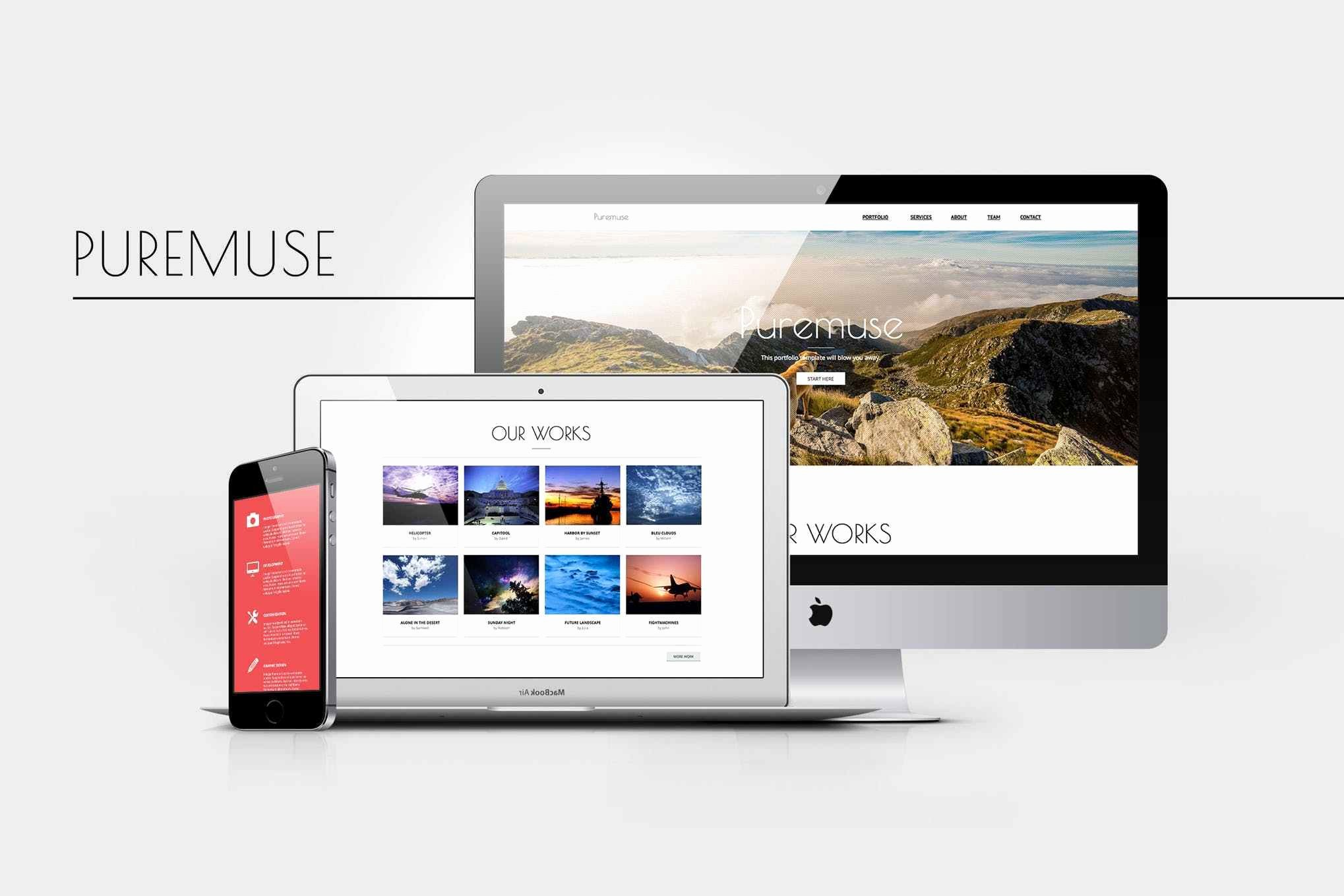 Free Download Puremuse Clean Adobe Muse Template for