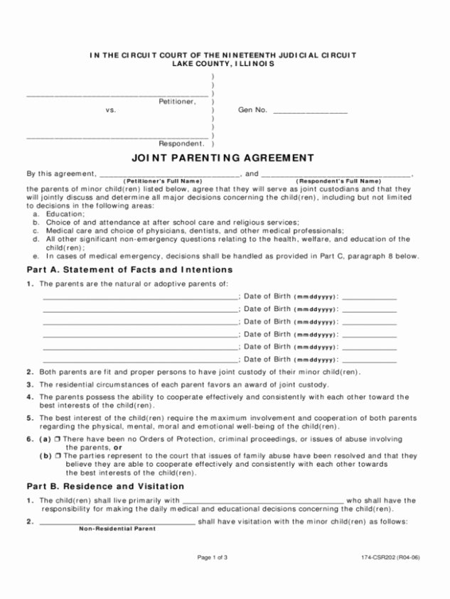 Free Download Sample Free Joint Custody Agreement Template